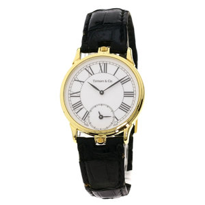 Tiffany Round Face Watch K18 Yellow Gold Leather Mens TIFFANY & Co.