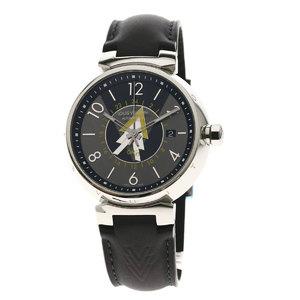 Louis Vuitton Q1D31 Tambourg GMT Watch Stainless Steel Leather Men LOUIS VUITTON
