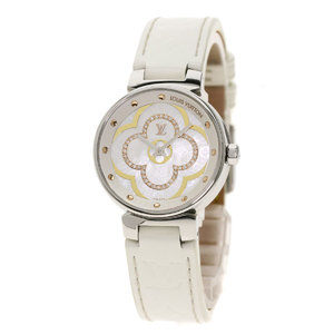 Louis Vuitton QA017 Tambour Moon Divine Watch Stainless Steel Leather Ladies LOUIS VUITTON