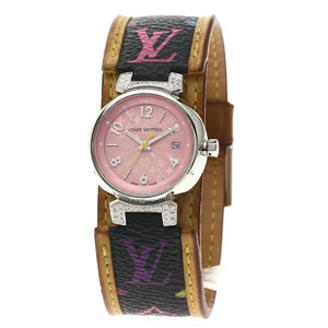 LOUIS VUITTON Q121E Tambour Diamond Watch Stainless Steel Leather Ladies