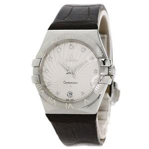 Omega 123.13.35.60.52.001 Constellation 11P Diamond Watch Stainless Steel Leather Unisex OMEGA
