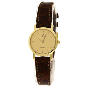 OMEGA Devil Watch K18 Yellow Gold Leather Ladies