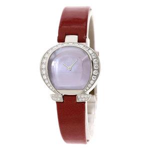 OMEGA 5886.7353 Mania Diamond Bezel Watch K18 White Gold Leather Ladies