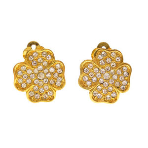 Chanel Clover Rhinestone 2186 Earring Ladies CHANEL