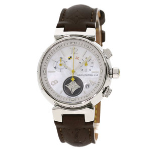 LOUIS VUITTON Q132C Tambour Lovely Cup Watch Stainless Steel Leather Ladies