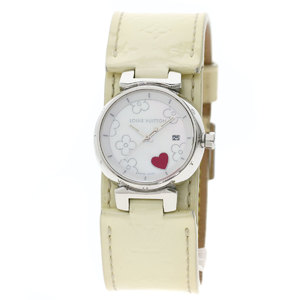 LOUIS VUITTON Q121A Tambour Lovely Heart Verni Watch Stainless Steel Leather Ladies
