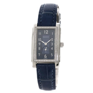 TIFFANY Grand Diamond Watch Stainless Steel Leather Ladies