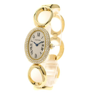 CARTIER 1967 Baignnoire Diamond Bezel Watch K18 Yellow Gold K18YG Ladies