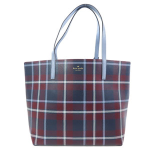 Kate spade checkered reversible tote bag leather ladies kate