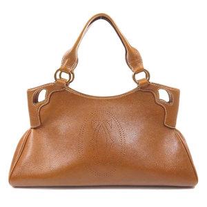 Cartier Logo Handbag Leather Ladies CARTIER