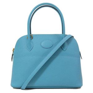 Hermes Borido 27 Blue Dunol Gold Hardware Handbag Epson Ladies HERMES