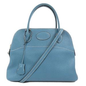 Hermes Borido 31 Taurillon Blue Jean Silver Hardware Handbag Ladies HERMES