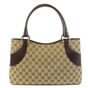 Gucci 113015 GG Tote Bag Canvas Leather Women's GUCCI