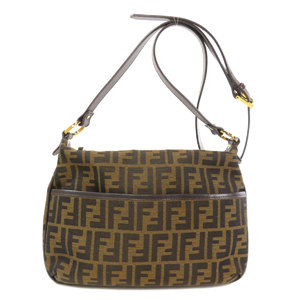 Fendi Zucca Shoulder Bag Canvas Leather Ladies FENDI