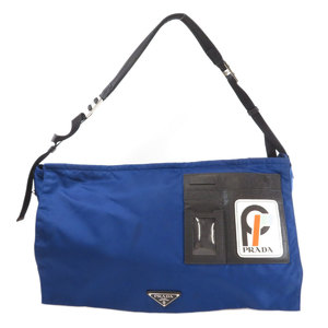 Prada logo plate shoulder bag nylon men's PRADA