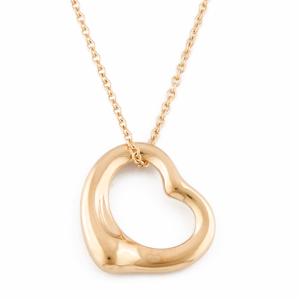 Tiffany Co Tiffany K18pg Necklace Pendant Open Heart 18k K18 Pink Gold Ladies Men S Elady Com