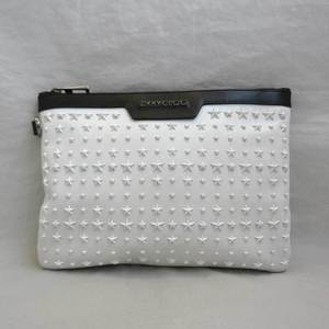 Jimmy Choo Derek White Black Clutch Bag Second Star Studs Men Women Ladies Calf JIMMYCHOO