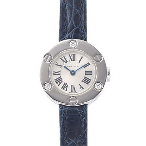CARTIER Love Watch Ladies Silver Dial K18WG 3P Diamond Quartz WE800131 Watch