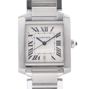 CARTIER Tank Francaise LM White Dial SS Automatica W51002Q3 Mens Watch