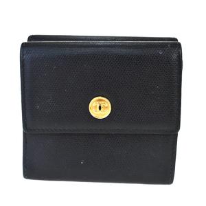 シャネル(Chanel) ココ・ボタン レザー 中財布(二つ折り) ブラック