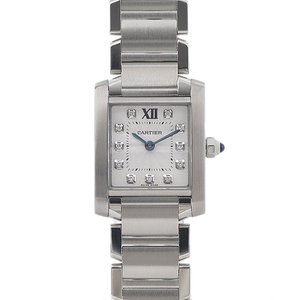 CARTIER Tank Francaise SM Ladies 11P Diamond Steel Quartz WE110006 Watch