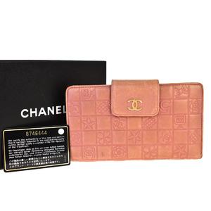 シャネル(Chanel) アイコン レザー 長札入れ(二つ折り) ピンク