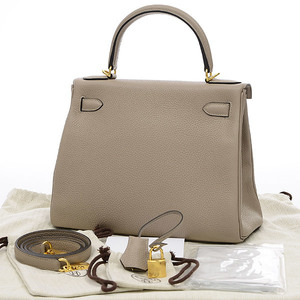 Hermes Kelly 28 Inner stitch Taurillon Tourtir gray gold hardware Personal D engraved