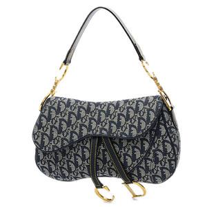 Christian Dior Dior Trotter Double Saddle Bag One Shoulder Canvas Blue Gold Hardware