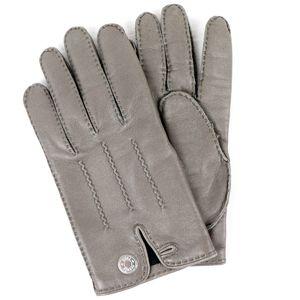 Hermes HERMES Lambskin Leather Gloves Serie Button Lining Silk Gray Silver Hardware Z1-5923