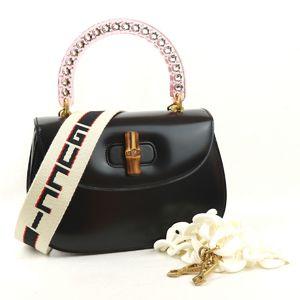 Gucci GUCCI Bamboo Classic 2way Leather Handbag Shoulder Rhinestone Clear Handle Pink M1-6654