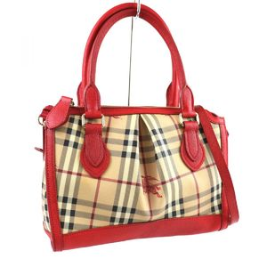 Burberry Nova Plaid 2way Shoulder Bag Handbag PVC K3-567