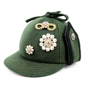 Miu Miumiu Ribbon Top Bijoux Felt Cap Flower Hat Ladies M Khaki Z5-6291