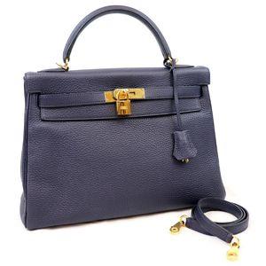Hermes HERMES Kelly 32 Taurillon Clemence blue ankle navy gold metal fittings C stamp 2018 handbag shoulder M2-5494