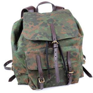 BURBERRY PRORSUM camouflage leather canvas backpack rucksack drawstring khaki M1-5581