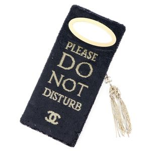 Chanel CHANEL 17 years Methiedal collection Please Do Not Disturb Clutch Bag Sequin party bag Gold