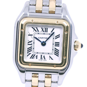 CARTIER PANTHERE DE SM 4023 W2PN0006 Stainless Steel K18 Yellow Gold Quartz Ladies White Dial Watch