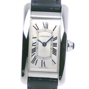 CARTIER Tank American SM New Model 3970 WSTA0016 Stainless Steel Leather Navy Quartz Ladies Silver Dial Watch