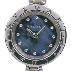 BVLGARI Bvlgari B-zero1 Bee Zero One 12P Diamond BZ23S Stainless Steel Quartz Ladies Black Shell Dial Wrist Watch
