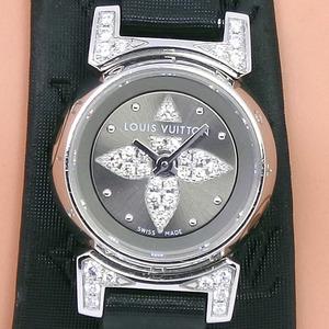 LOUIS VUITTON Louis Vuitton Tambourg Viju Q151K Stainless Steel Leather Black Quartz Ladies Gray Dial Watch