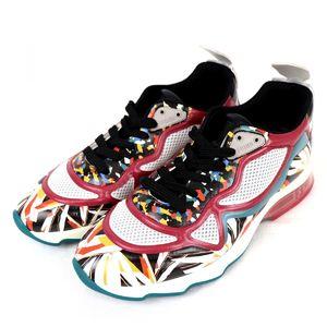 Fendi FENDI Leather Mesh Total Pattern Low Cut Sneakers Ladies 37 Multi Color P3-6058
