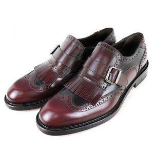 Salvatore Ferragamo Wing Tip Quilt Tassel Leather Shoes Single Monk Strap Bicolor 7.5EE Brown Wine S1-6104