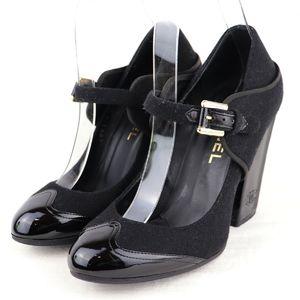 Chanel CHANEL Wool Enamel Strap Heel Pumps Chunky Heels 36.5C Black S1-5689