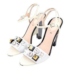 Fendi FENDI Bijoux Decoration Strap Heel Sandals High Heels 8X5207 Ladies 40 White Q2-7475