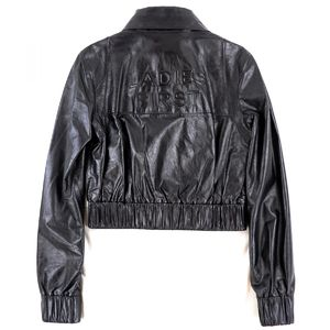 CHANEL 2015SS collection wear LADIES FIRST back logo lambskin zip up leather jacket blouson ladies 34 black AA2-4297