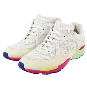Chanel CHANEL 16C Coco Mark Mesh Low Cut Sneakers Ladies 40 White Multi Color P2-5686