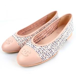 Chanel CHANEL 20P Tweed Leather Ballerina Flat Pumps Shoes Cocomark 36.5C Pink S1-7730