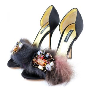 Dolce & Gabbana DOLCE&GABBANA Fur Bijoux Decoration Open Toe Heel Satin Pumps Ladies 35.5 Black R2-5447