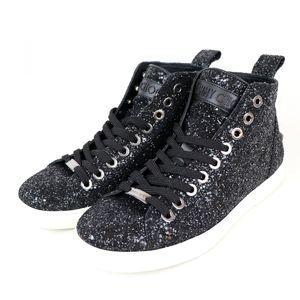 Jimmy Choo JIMMY CHOO glitter high-top sneaker star studs logo 40 black S1-6052