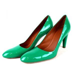 Celine CELINE Plain Toe Patent Heel Pumps Enamel 37 Green Q3-4465