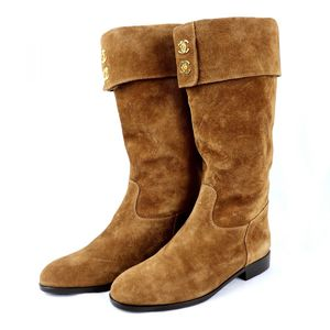 Chanel CHANEL Suede Leather Long Boots Folded Design Coco Mark 36 Brown Gold Q2-4454